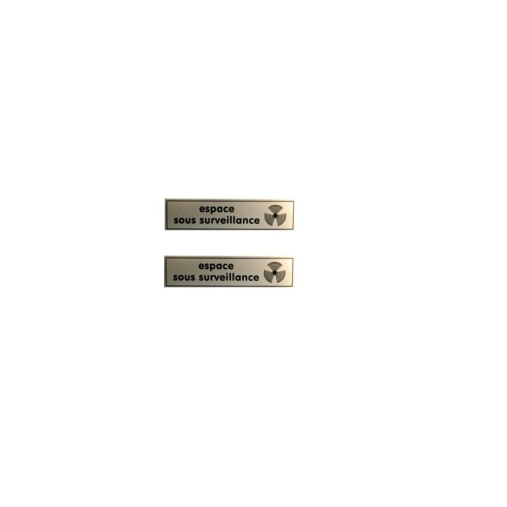 2 etiquettes signalisation affichage panneau sticker espace video surveillance autocollant signale