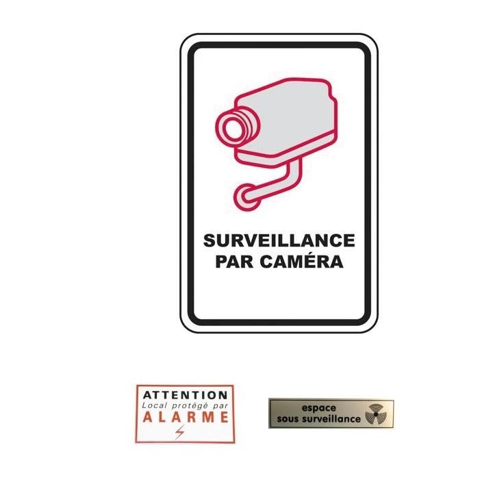 1 panneau surveillance camera + 1 etiquette attention alarme + 1 etiquette espace sous surveillance