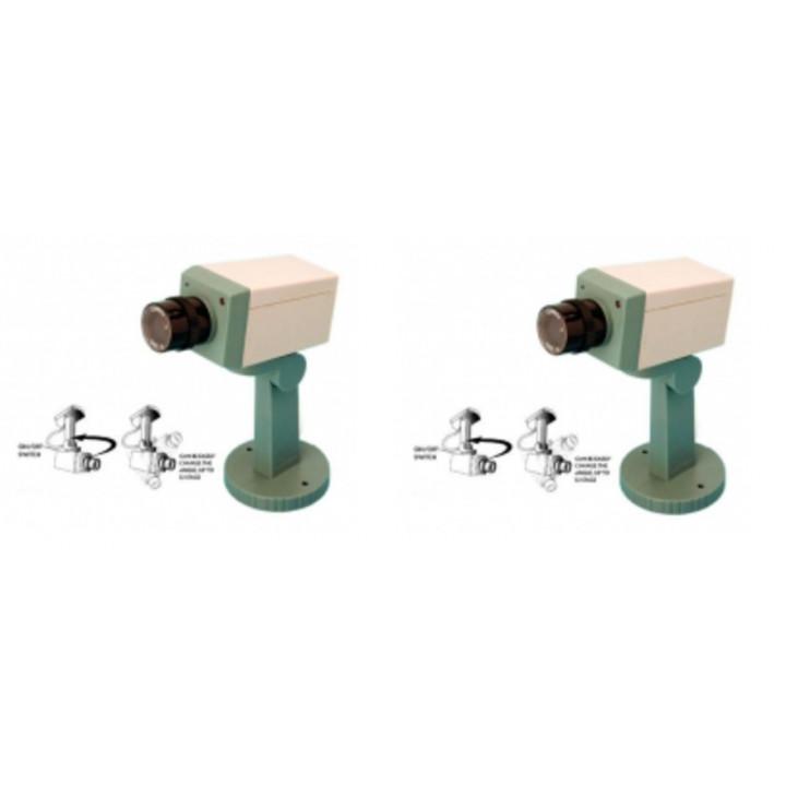 2 camara video facticia + piloto + soporte vigilancia videovigilancia sistema video vigilancia camaras video facticias