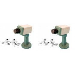 Lot de 2 cameras video factice securité fausse dissuasion cachee motorisee voyant clignotant support
