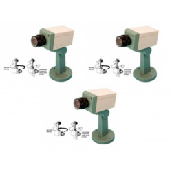 Lot de 3 cameras video factice securité fausse dissuasion cachee motorisee voyant clignotant support