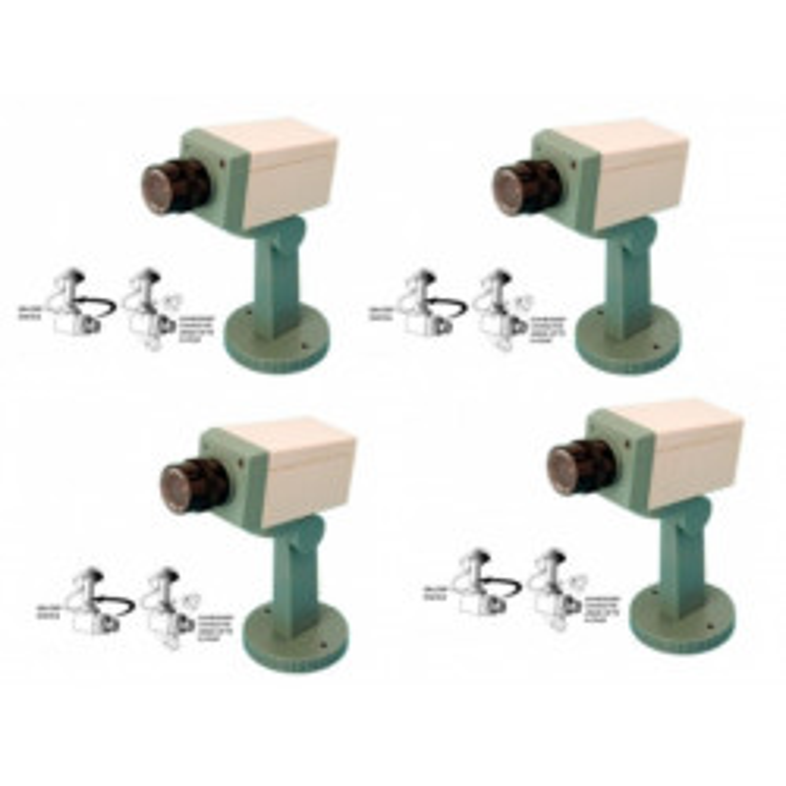 Lot de 4 cameras fausse video dissuasion factice cachee motorisee voyant clignotant detecteur