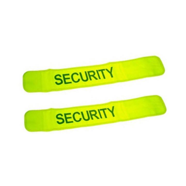 Lot de 2 brassards securite fluo jaune en471 security velcro routiere visibilite
