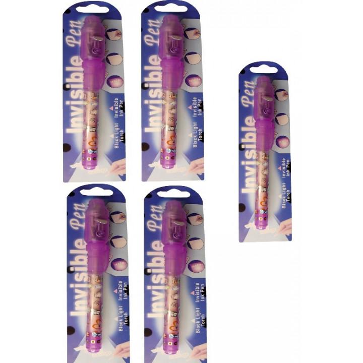 5 stylos feutre encre invisible fuvrs lampe ultraviolette detecteur faux billet ultraviolet violet
