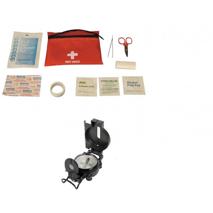 Lot boussole look militaire + kit de survie premier secours trousse medicale