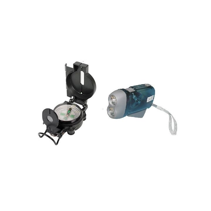 Lot 1 boussole look militaire loupe pliable + 1 lampe 2 leds rechargeable torche dynamo sans pile