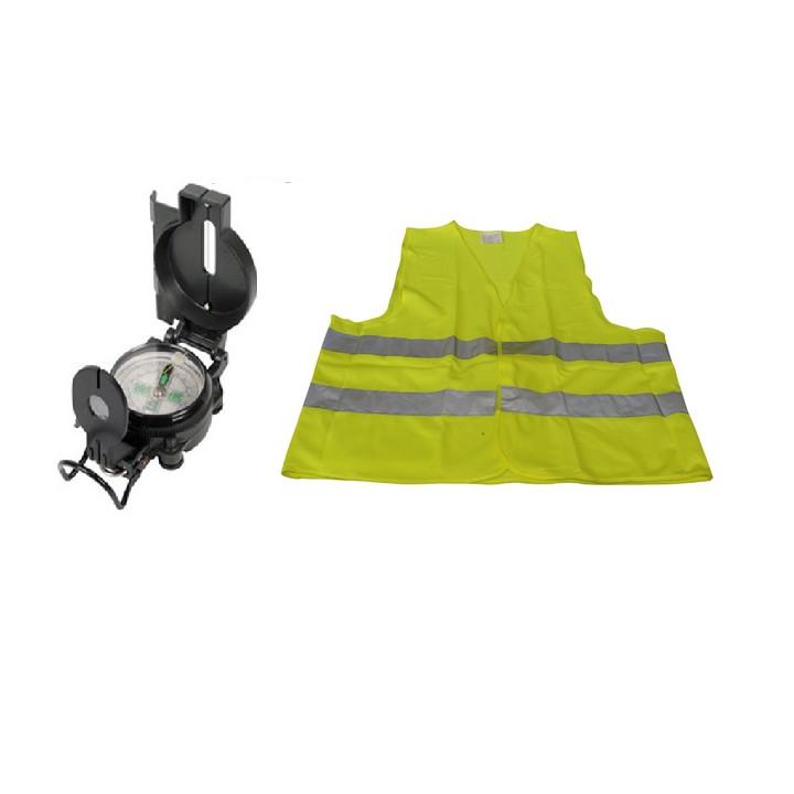 Lot 1 boussole look militaire loupe pliable + 1 gilet auto securite signalisation routiere jaune xl