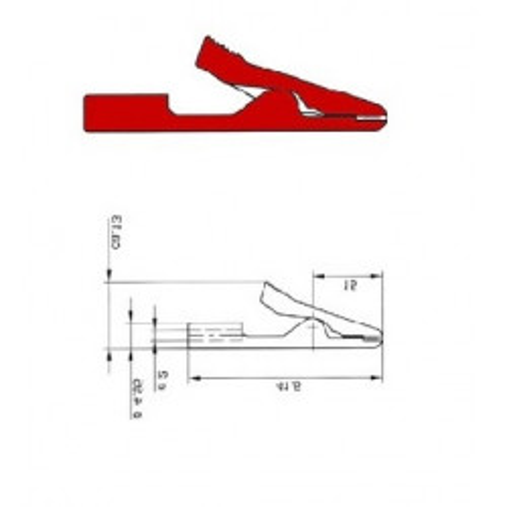 Miniatur-krokodilklemme isoliert rot unzerbrechlich 2mm (ma1) hm3211 velleman