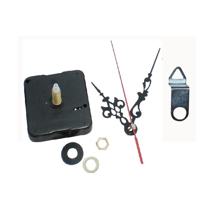 Mecanisme horloge quartz aiguilles axe long 23mm + crochet fixation murale
