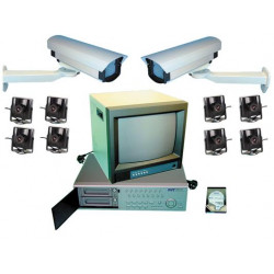 Video surveillance pack multiplexer digital recording 9 colour cameras extension to 16 cameras web video surveillance pack
