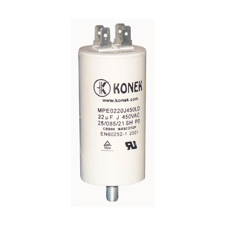 Condensateur 22µf 22 mf micro farad 450v condo demarrage moteur double cosse faston 6.3mm m8