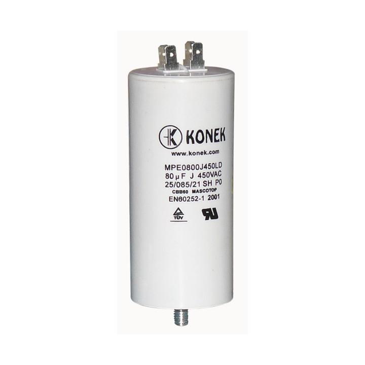 Condensador 80 mf micro farad 450v 50 60 hz condensador de arranque motor universal a borne am w1 11008