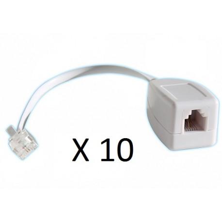 Lot de 10 parafoudres telephonique 1 ligne rj11 tel fax/modem compatible rj12 parasurtenseur