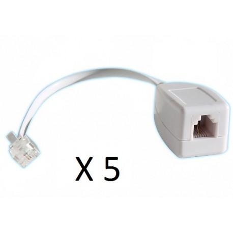 Lot de 5 parafoudres telephonique 1 ligne rj11 tel fax/modem compatible rj12 parasurtenseur
