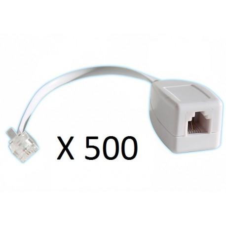 Lot de 500 parafoudres telephonique 1 ligne rj11 tel fax/modem compatible rj12 parasurtenseur