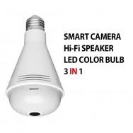 Camera video 1.3Megapixel wifi ampoule led 7 couleurs haut parleur 360 degre panoramique Bluetooth