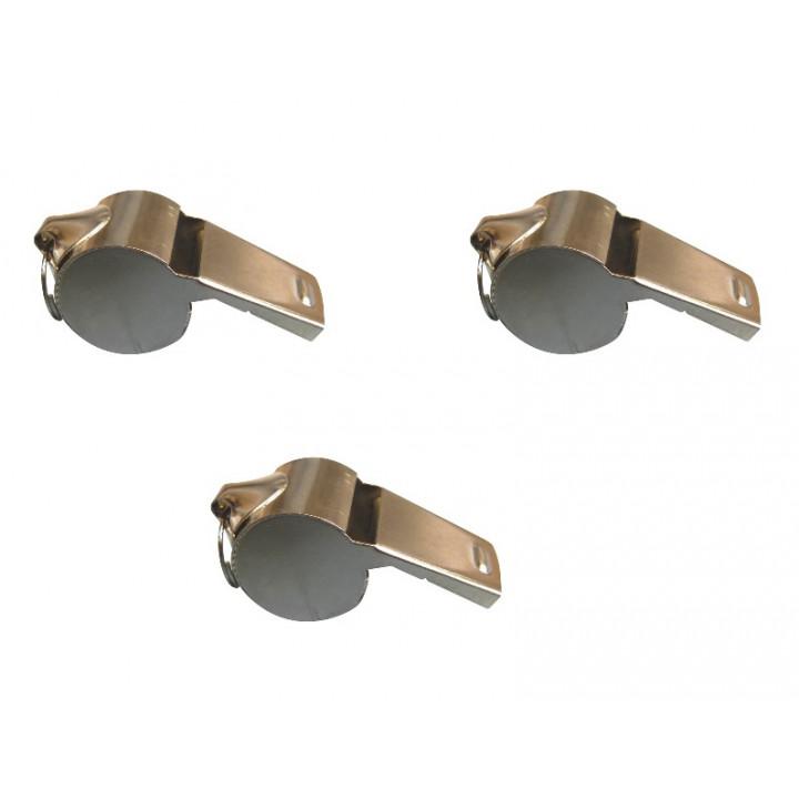 Lot 3 sifflet métal à roulette bille tonalité haute special arbitre police militaire