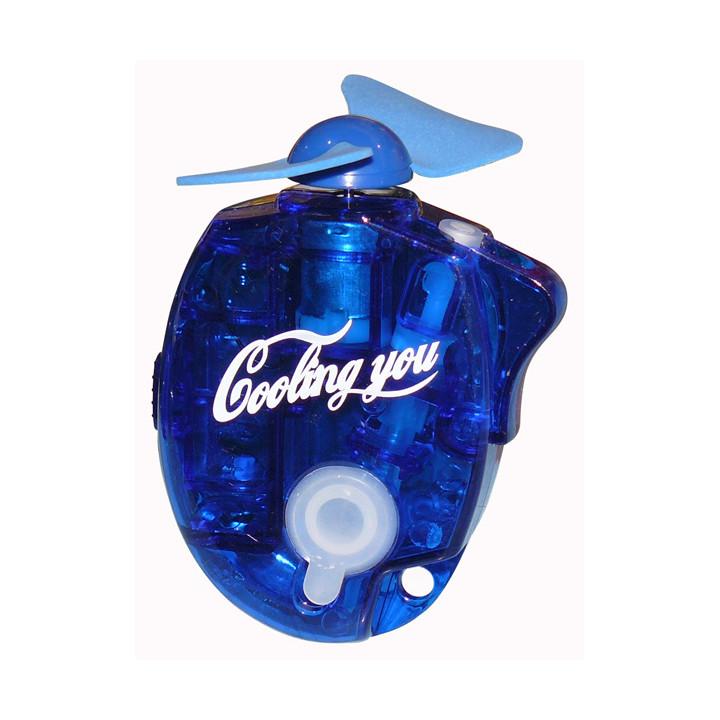 Mini ventilateur brumisateur portable jet d'eau porte-clés bleu