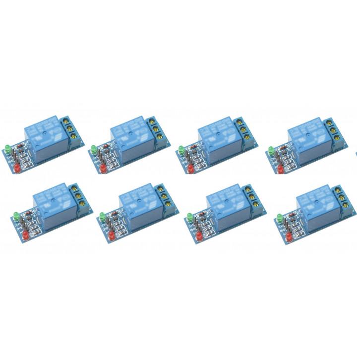 8 x relé 5v 12v de alimentación del módulo 10a 220v 1 canal automatización arduino brazo dsp abril pico