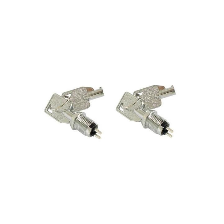 Lot de 2 interrupteur commutateur cle ks11 serrure electrique 2 clef ronde mini verrou marche arret