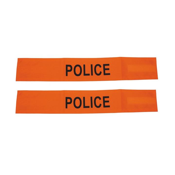Lot de 2 brassard police orange fluo en471 velcro securite routiere haute visibilite protection bras