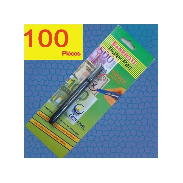 Lot de 100 stylo detecteur de faux billets feutre multi devises usd euro eurotester banknote