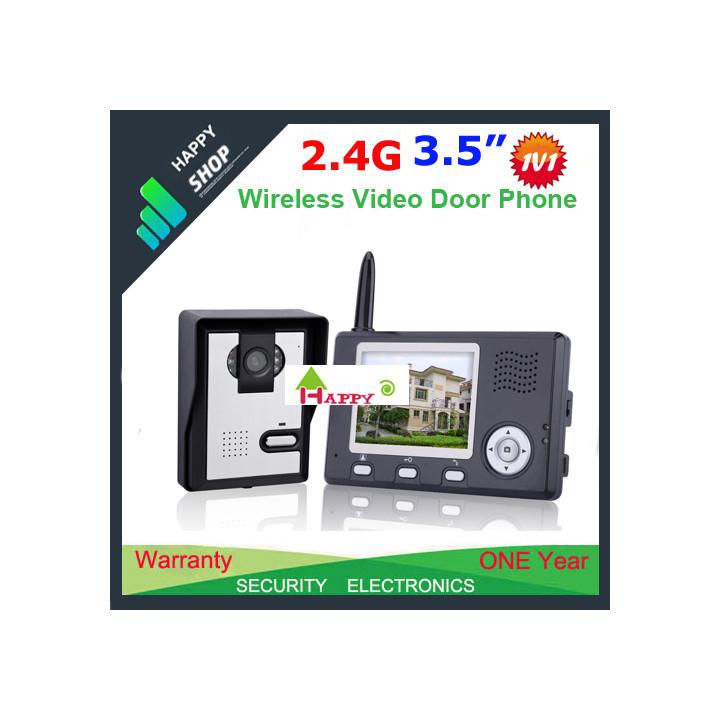 Interphone portier video camera couleur sans fil 3.5 intercom surveillance securite maison wdp02