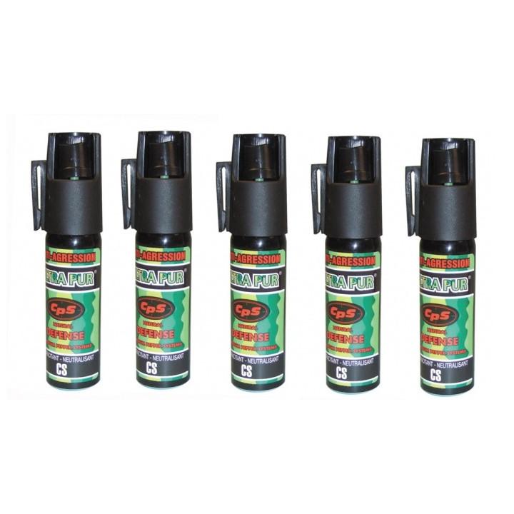 5 bombes aerosol defense poivre 17ml 25ml incapacitant neutralise GPPM