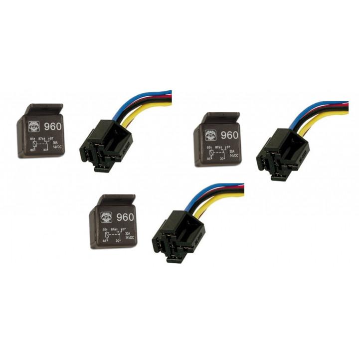 3 x 20a 30a 12v relé de automoción 1 contacto na / nc 5 pines + 1 soporte de pasador