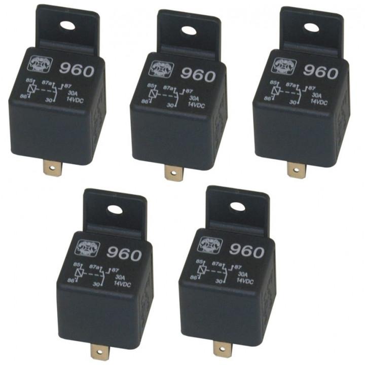 Lot de 5 relais 12v 20a 30a 5 pin broches 1 contact no/nf