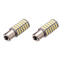 2 x Lampadina 12v 6w 7w LED ba15S 120 auto 3528 1210 smd bianco faro