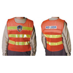 Giubbotto riflettente polyester rosso giallo police migliorazione visibilita police