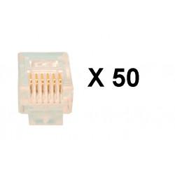 Fiche rj12 6p/6c pour camera ckvn (les 50 pièces) pour cordons cameras video