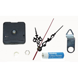 Mecanisme horloge quartz axe 8mm avec aiguille + support mural et pile