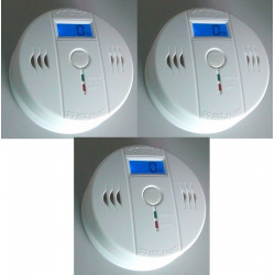 PACK OF 3 Autonomous sensor carbon monoxide detector co 9v en50291 type b odorless gas detection alarm buzzer