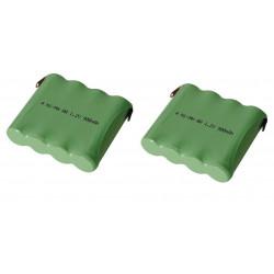 Lot de 2 packs accu ni mh 4.8v 600mah 900mah cosses a souder batterie rechargeable 4kr6mc nimh