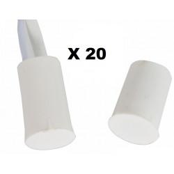 20 contacts nf encastrable 10mm blanc ouverture detecteur capteur magnetique pour alarme