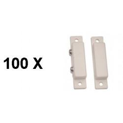 100 Detector apertura magnetico contacto nf saledizo adesivo blanco detectores de apertura alarma
