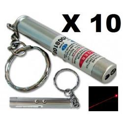 paquete de 10 2 en 1 puntero de láser rojo blanco bolsillo antorcha luz lazer 150m llavero