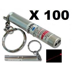 Packung mit 100 2 in 1 laserpointer taschenlampe rot weißes licht lazer 150m keyring
