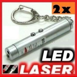 paquete de 2 2 en 1 puntero de láser rojo blanco bolsillo antorcha luz lazer 150m llavero