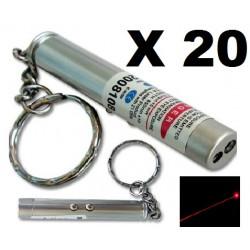 Packung mit 20 2 in 1 laserpointer taschenlampe rot weißes licht lazer 150m keyring