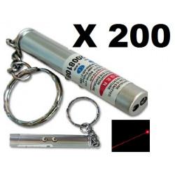 Packung mit 200 2 in 1 laserpointer taschenlampe rot weißes licht lazer 150m keyring