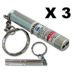 Packung mit 3 2 in 1 laserpointer taschenlampe rot weißes licht lazer 150m keyring