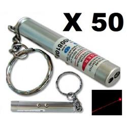 Packung mit 50 2 in 1 laserpointer taschenlampe rot weißes licht lazer 150m keyring