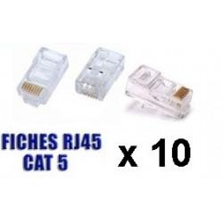10 fiches rj45 8p/8c plug cristal reseau télephonique internet plug lan connecteur ethernet cat6e