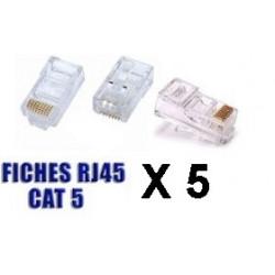 Lot de 5 fiches modulaire rj45 plug cristal reseau prise telephonique telephonie 8p8c cat5 cat5e
