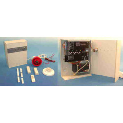 Alarm pack control panel 2 zone 220v +siren + temperature detector +contact magnetic opening