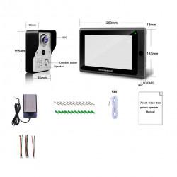 Sistema videocitofonico con porta senza fili, 1x Monitor da 7 pollici Wifi + 1x Telecamera da porta cablata 720P