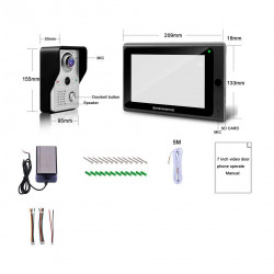 Wireless Door Video Doorphone System, 1x 7-inch Wifi Monitor + 1x 720P Wired Door Camera, Touch Screen Villa